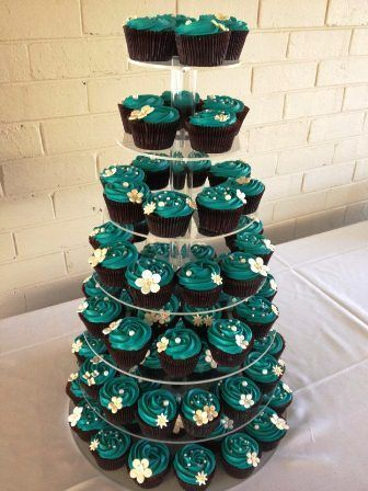 quick wedding cake ideas teal wedding cupcakes wedding dessert cucpaketower 18936
