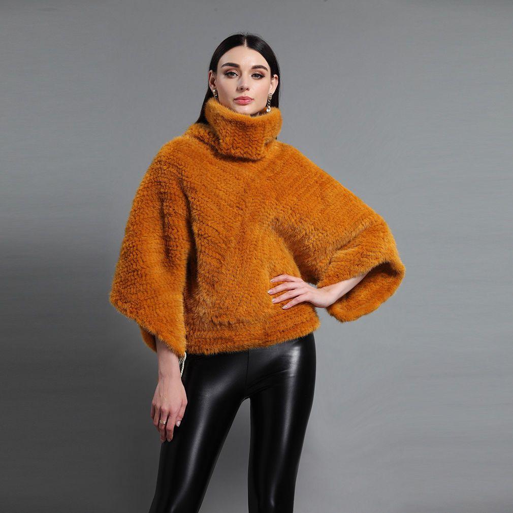 100/% Real Genuine Knitted Mink Fur Coat Jacket Outwear Garmnet Sweater Fashion