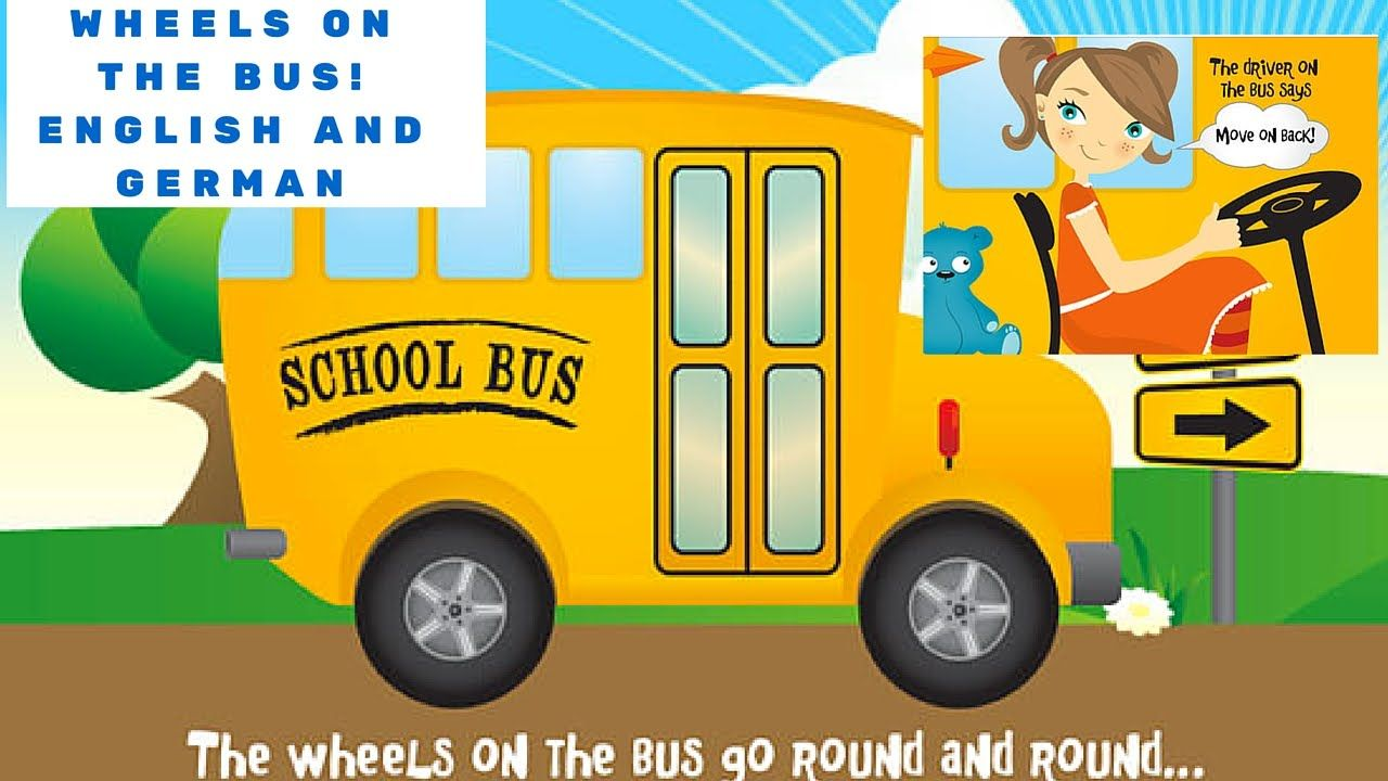Wheels On The Bus Nursery Rhyme (English and German) l For