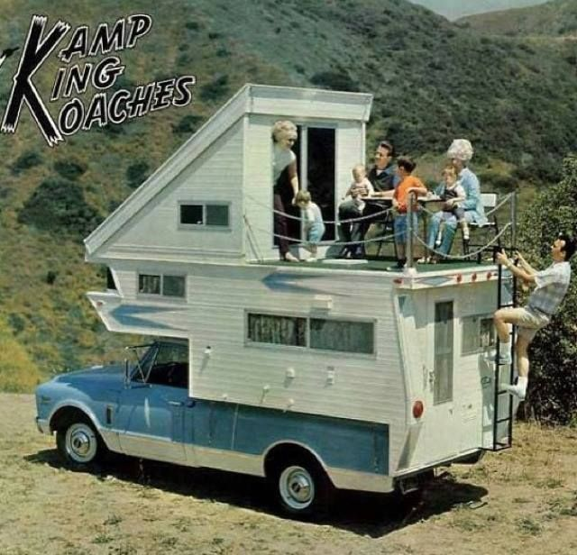 Camper With A Balcony Vintage Camping Truck Camper Vintage Camper