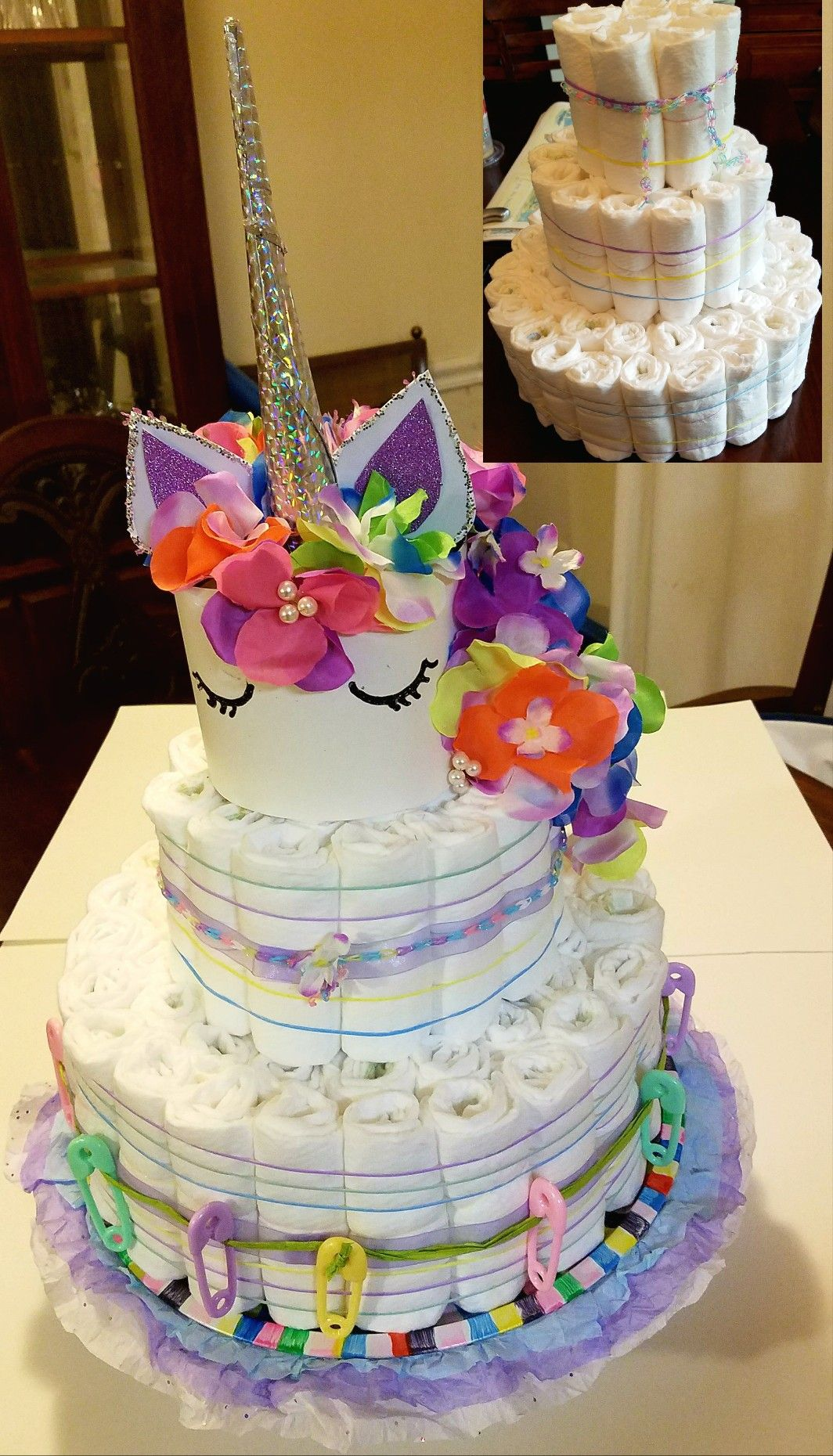 Unicorn diaper cake my creations pinterest for Baby shower decoration ideas with diapers