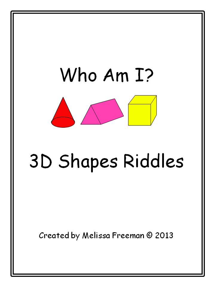 3d Shape Riddles 3d Shape Teaching Math Math Lessons