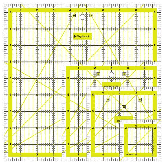 9.5 x 9.5 Sew Easy Patchwork Square Ruler