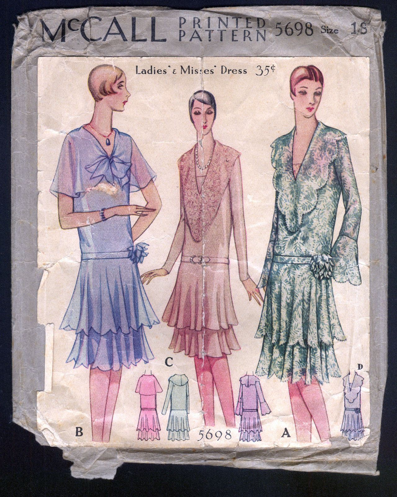 1929 Mccall Pattern Ladies' Dress With Tiered Skirt | eBay ...
