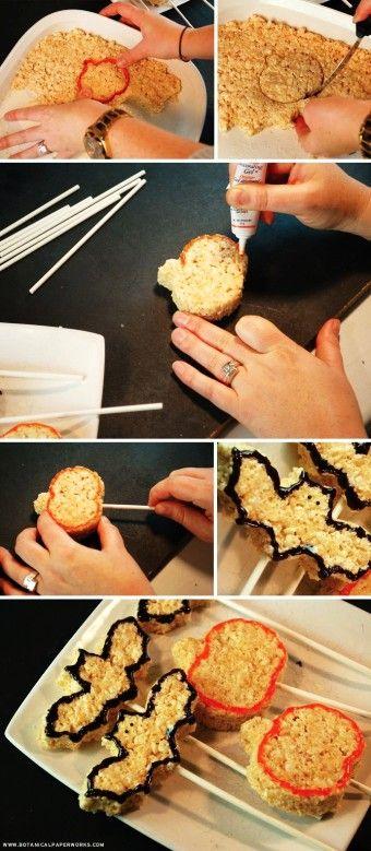 2015 easy and quick Halloween rice krispy pops tutorial - pumpkin, bat - LoveItSoMuch.com