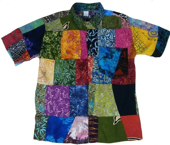 Cool patchwork button down short sleeve shirt for the hippie, gypsy dude - found at theHipOutfitters.com