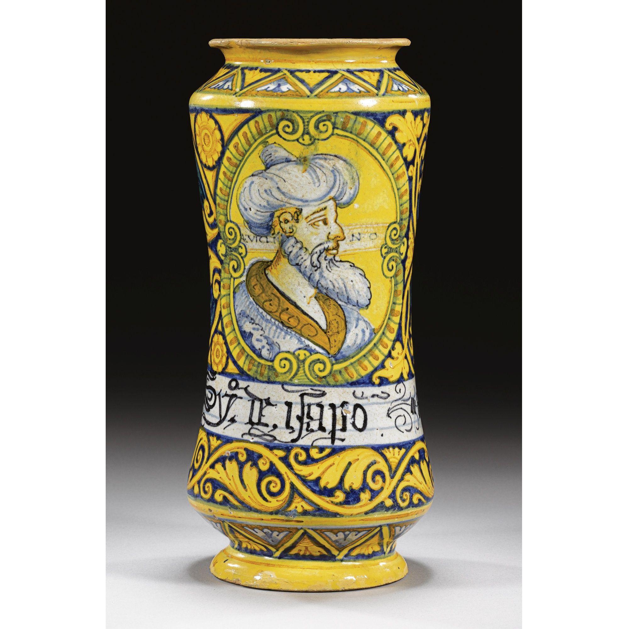 """A Rare Maiolica Albarello With """"portrait"""" Of Ibn Sina"""