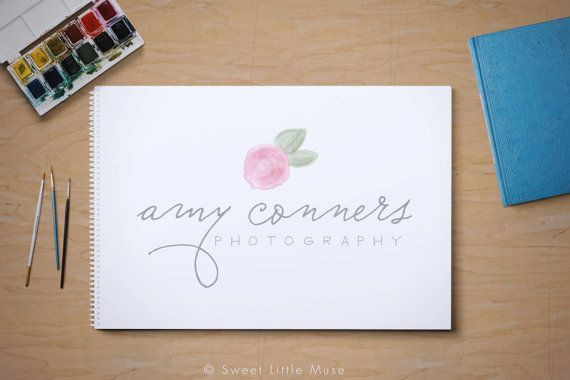 Watercolor Photography Logo  premade logo   by SweetLittleMuse