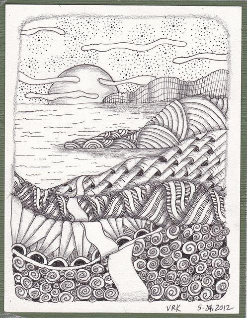 Zen Line Drawing : Zen landscape landscaping doodles and zentangles