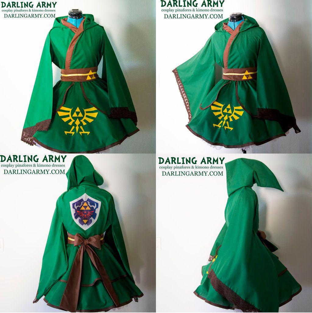 Link legend of zelda hooded cosplay kimono dress by for Legend of zelda wedding dress