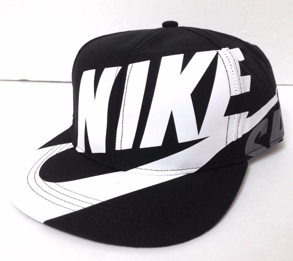 6d1ba6f3 YOUTH Boy/Girl NIKE SKATEBOARDING SNAPBACK Black&White SB Swoosh Big Logo  NEW #Nike #BaseballCap