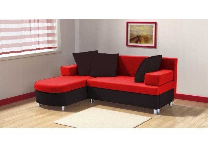 Canapé Dangle Convertible FARA I Coffres Noir Et Rouge - Canape angle petit