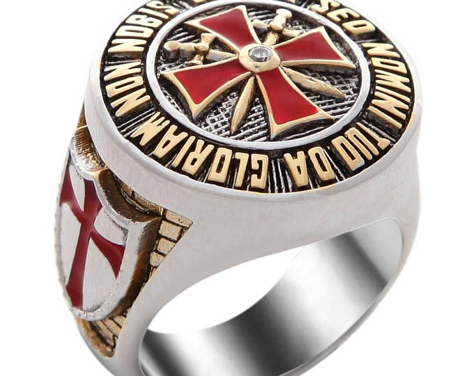 VINTAGE DEMOLAY CHEVALIER RING STERLING SILVER SIZE 12-20 GRAMS MASONIC