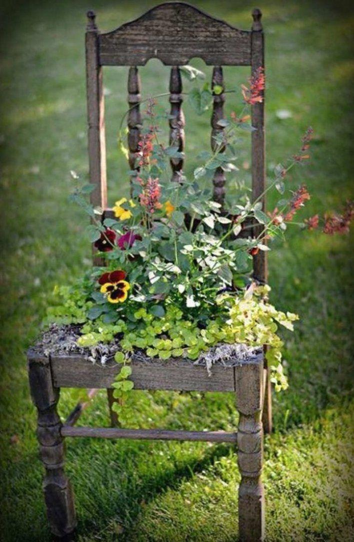 Garten Dekor Kunst Idee Stuhl Recup Gartendekorkunstideestuhl Recup Gartendesign Gartenideen Garten Rustic Gardens Garden Decor Diy Garden Decor