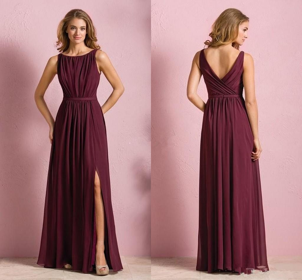 Elegant cheap burgundy chiffon long beach bridesmaid for Elegant wedding party dresses