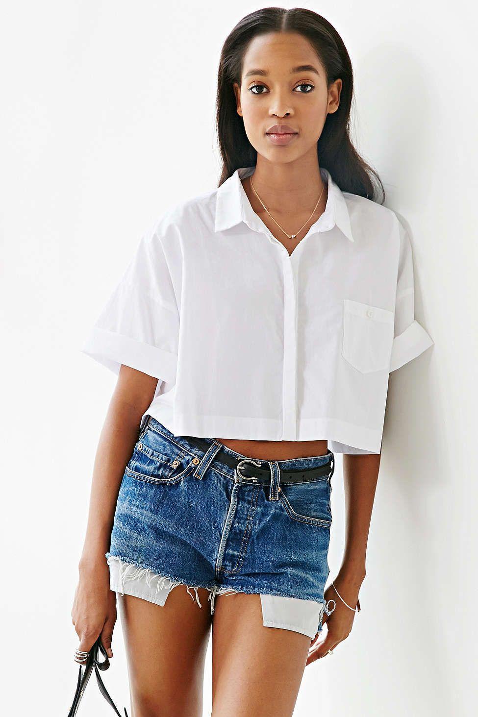 da36ec8d Lucca Couture Square Cropped Button-Down Shirt | Tomboy | Fashion ...