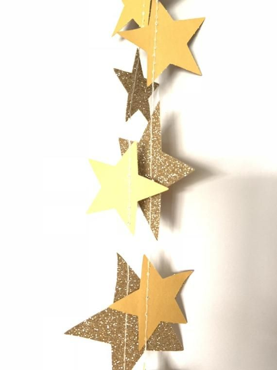 Gold Twinkle Little Star Garland Gold Star Banner Galaxy ...