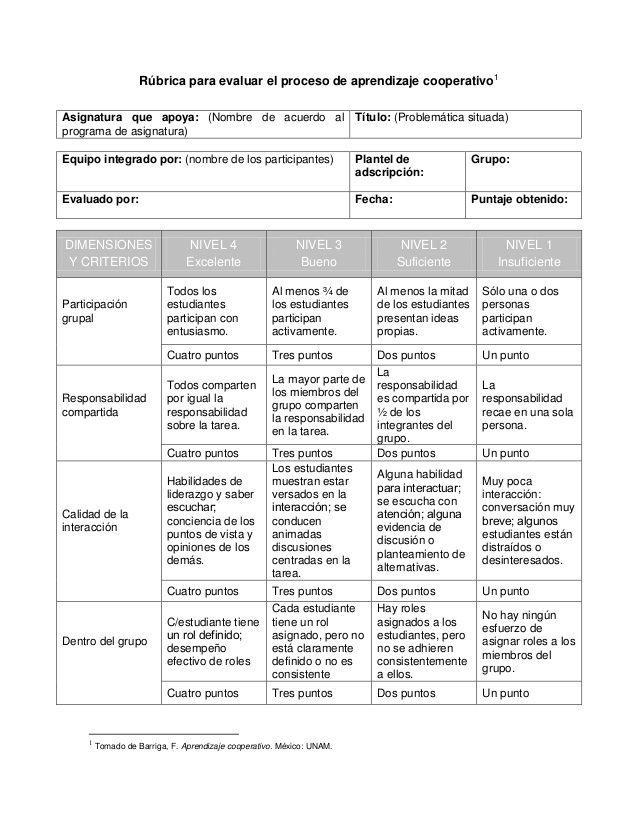 Rúbrica evaluación aprendizaje cooperativo   Educación   Pinterest ...