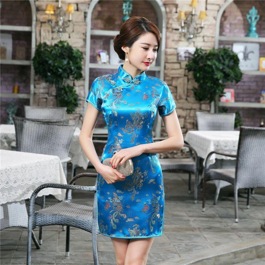 Traditional Chinese Women/'s Silk Satin Mini Dress Cheongsam Qipao BLUE SZ S-6XL