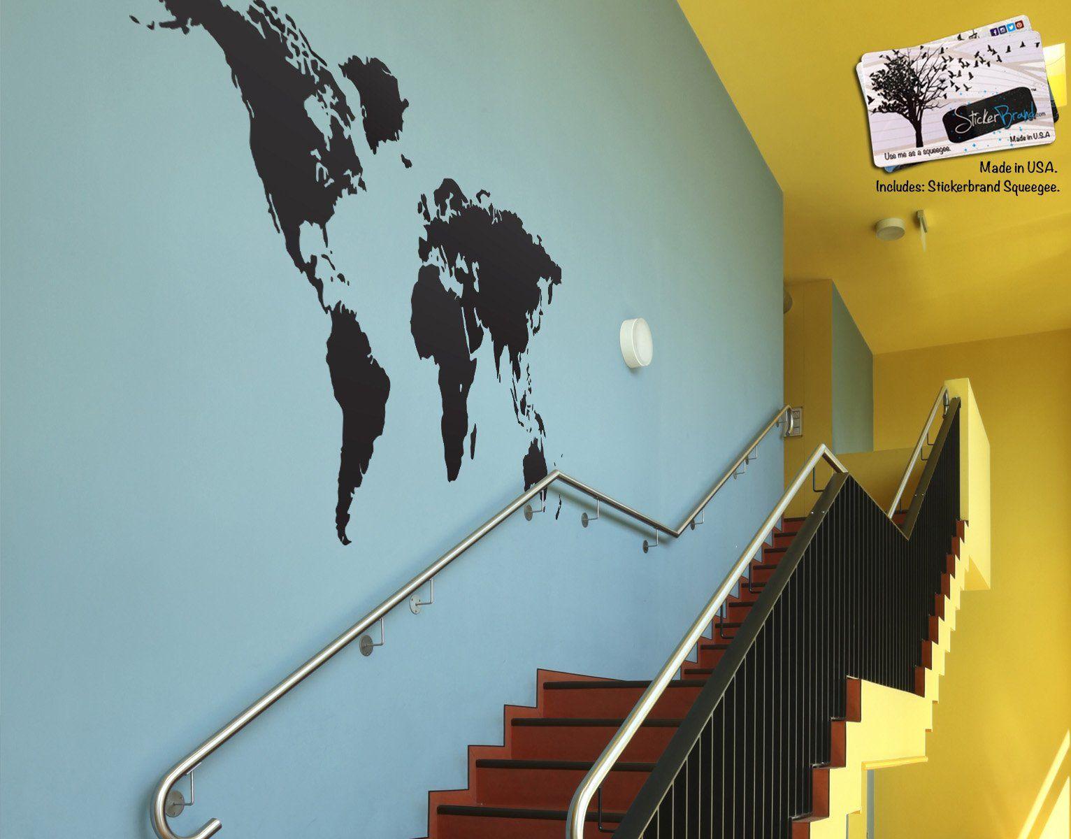 Black world map wall decal sticker stickerbrand home decor vinyl