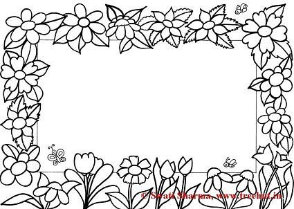 Coloring Pages Flower Frame Designs Canvas Coloring Pages Free