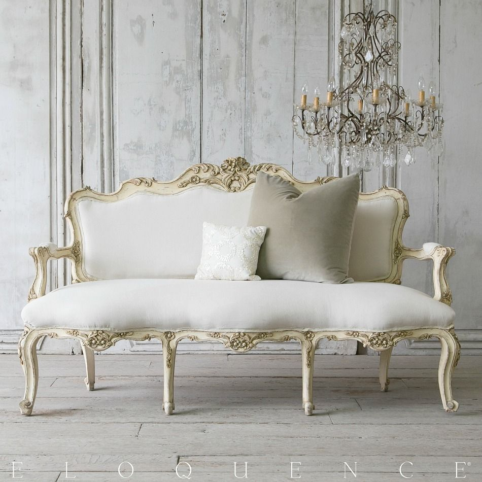Eloquence One of a Kind Vintage Louis XV French Style Shabby Cream ...