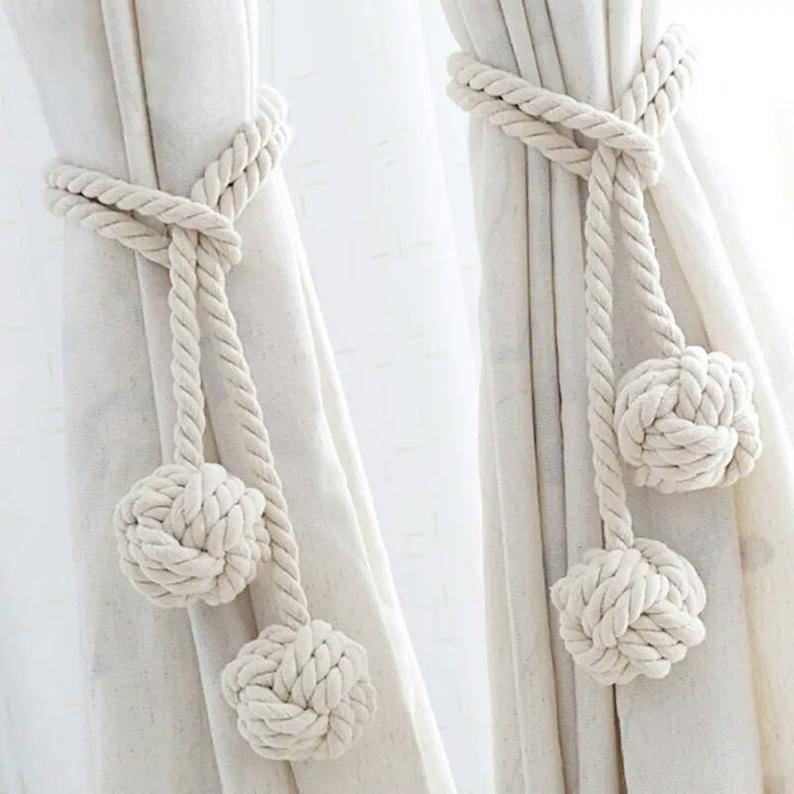 New Hanging Ball Tassel Curtain Tieback Rope Single Holdback Holder Buckle Strap