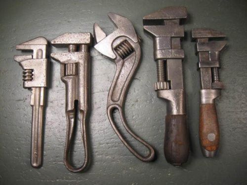 Old Used Vintage Mechanics Tools Rare Adjustable Wrenches