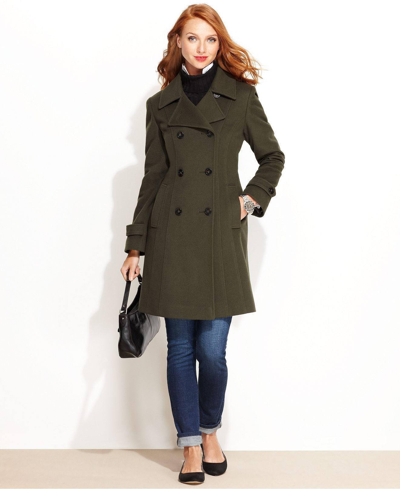 Anne Klein Coat, Double-Breasted Cashmere-Blend Walker - Coats ...