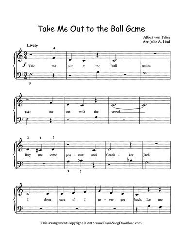 Take Me Out To The Ball Game Free Easy Piano Sheet Music From