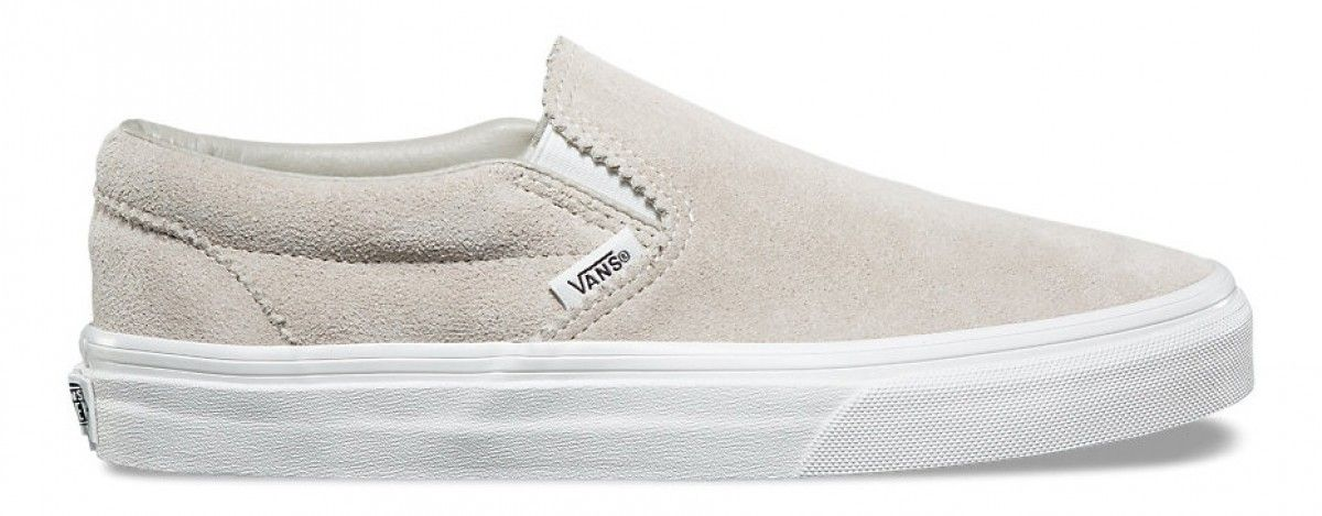 6a0e80724a Vans Classic Slip On (Pinked Suede) Silver Lining Blanc De Blanc ...