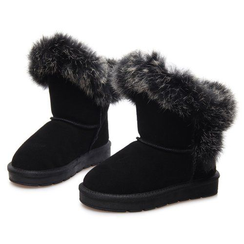 1bec1112a12f6 Moin Bottes de neige Enfant Bébé Fille en Cuir Dépolissement Fourrées bottes  avec Epais Fourrure Laine Antidérapage