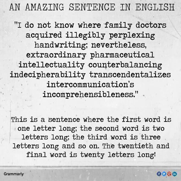 An Amazing Sentence In English Each Word Is An Extra Letter Long