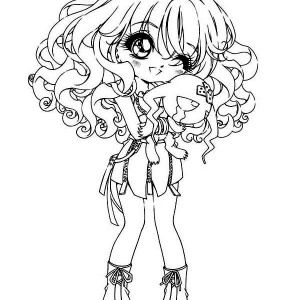 Long Haired Chibi Anime Character Coloring Page | Coloring Sky