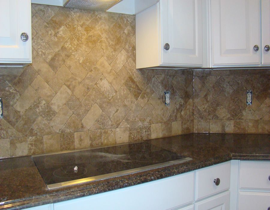 Travertine Herringbone Backsplash Kitchen Upgrades Herringbone