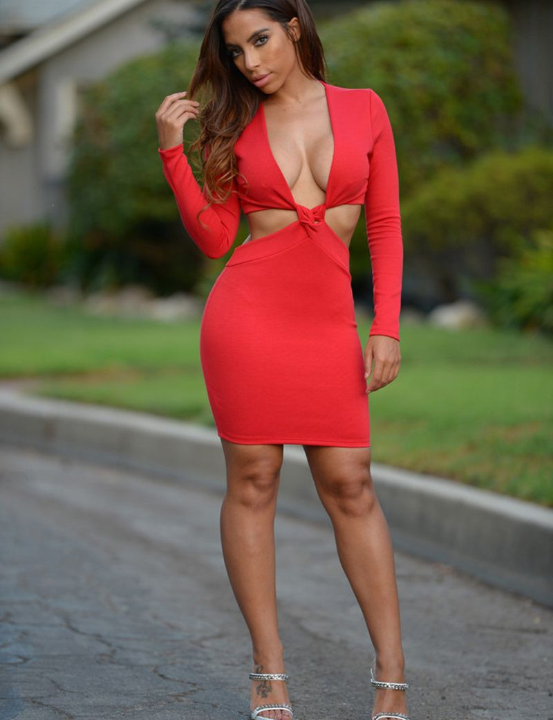 Sexy women deep v neck cut out waist twisted long sleeve club party