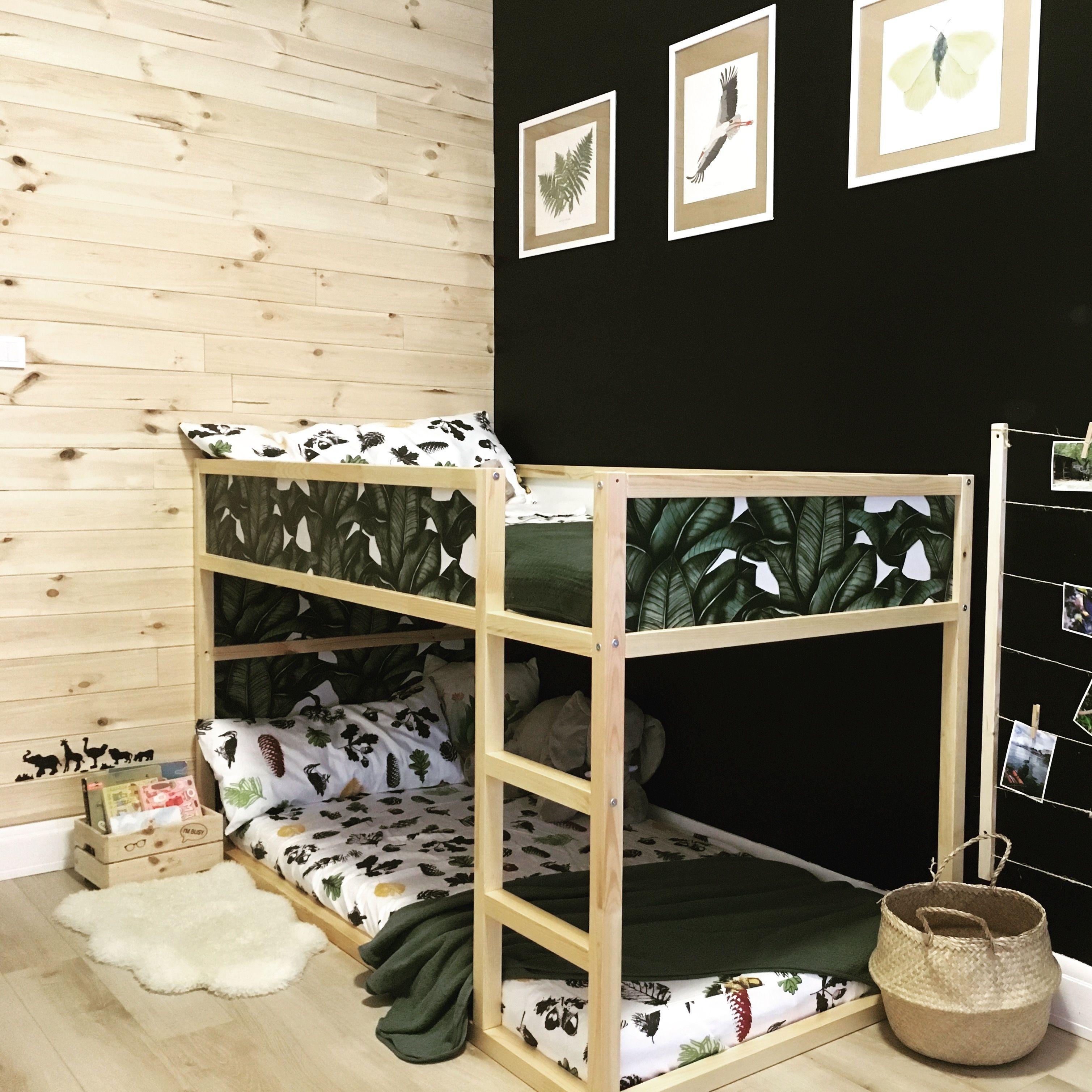 Ikea Kura łóżko Piętrowe Ryciny Farba Kredowa ściana Z Desek