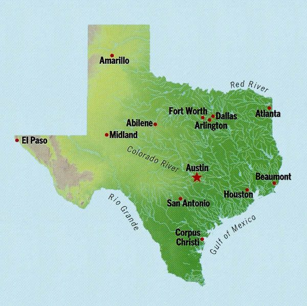 Interactive Map Of Texas.Locate Texas State Capitol Or Largest City On The