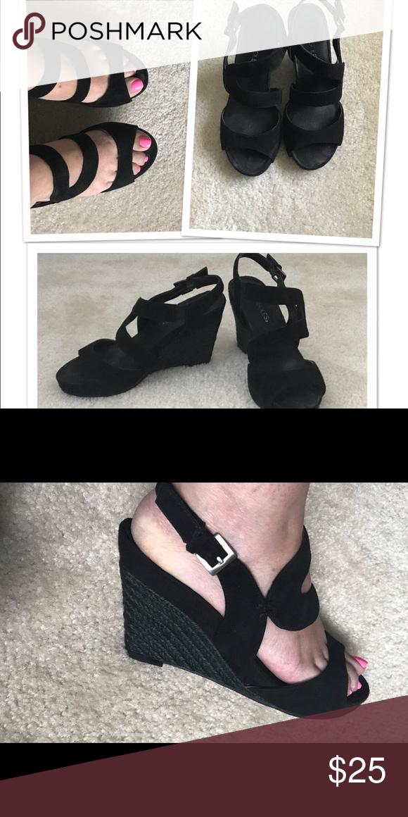 "aaf0af25d8f Aerosoles black suede wedge sandals Aerosoles black 4"" wedge sandal ..."