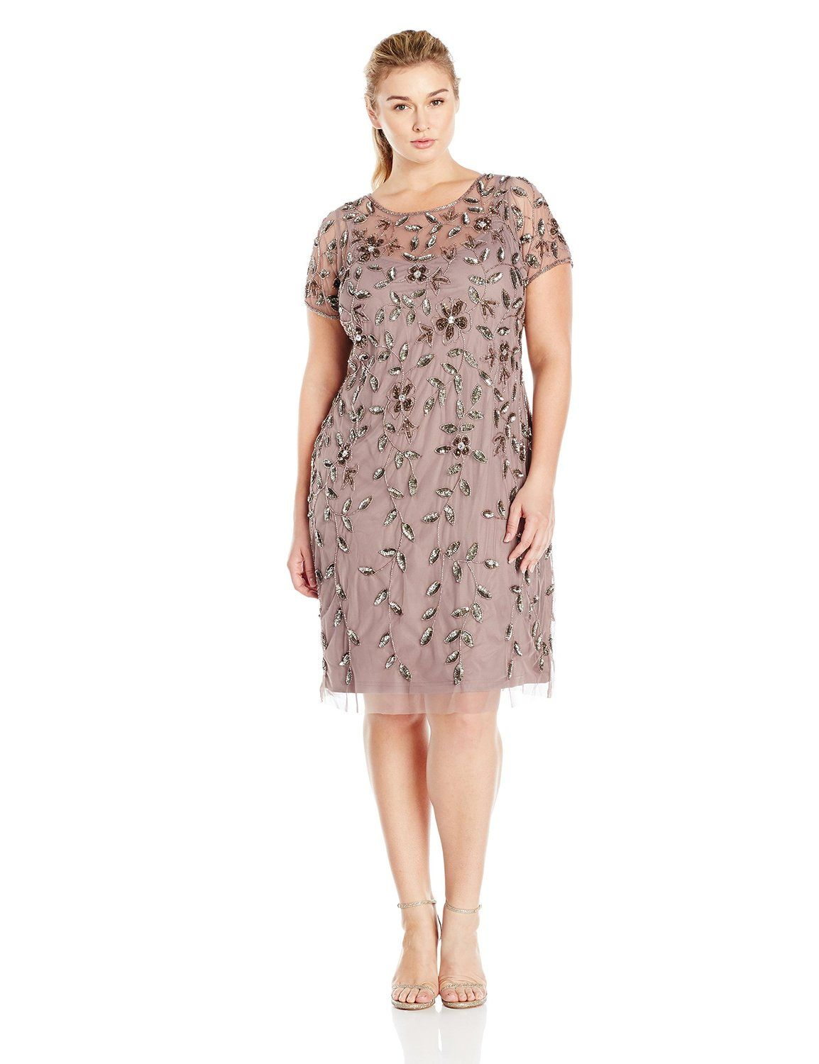 2f6304c0dc8d7 Adrianna Papell Women s Plus-Size Short Sleeve Beaded Cocktail Dress    To  view further