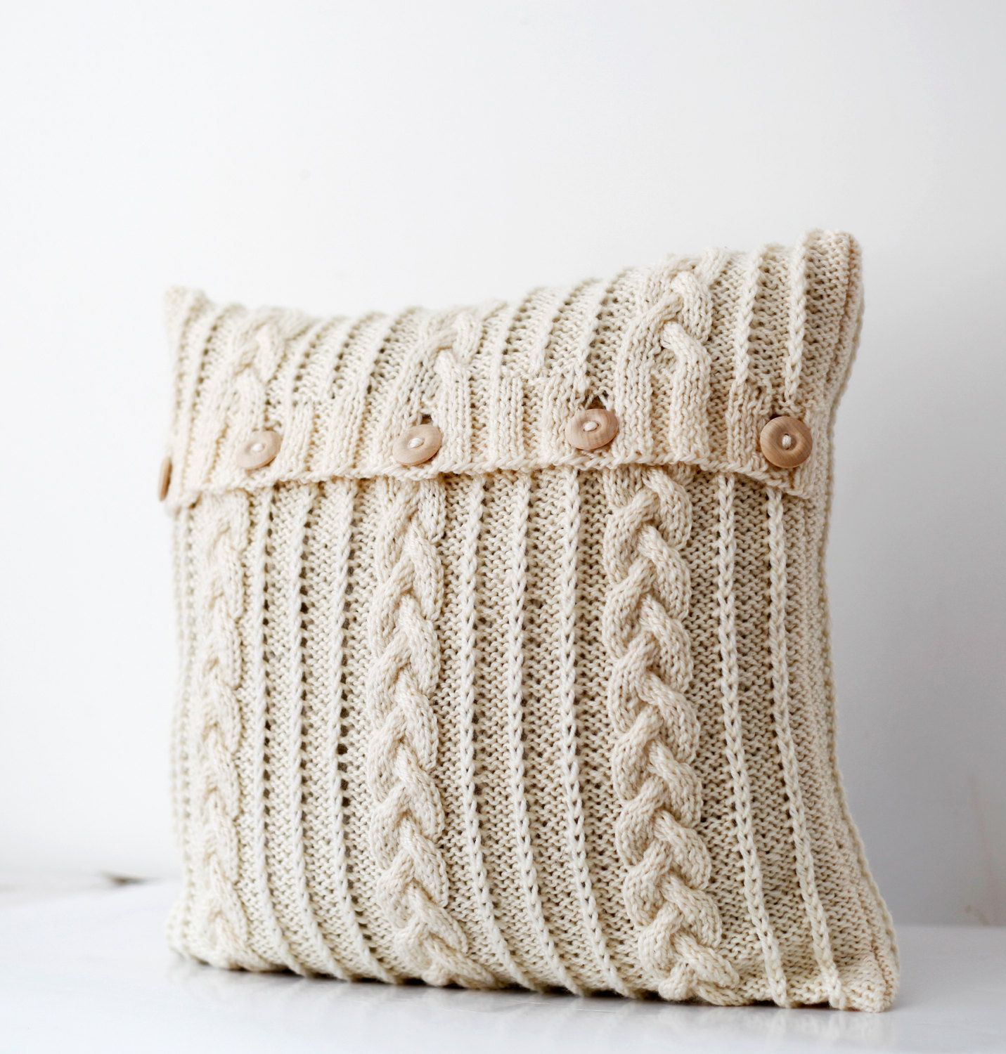 Cable Hand Knitted Pillow Wool Cover