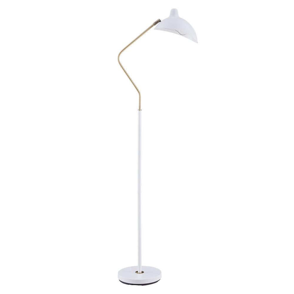 Southern Enterprises Ximena 61 In White Contemporary Metal Floor Lamp Hd559971 The Home Depot In 2020 Metal Floor Lamps White Lamp Shade White Floor Lamp