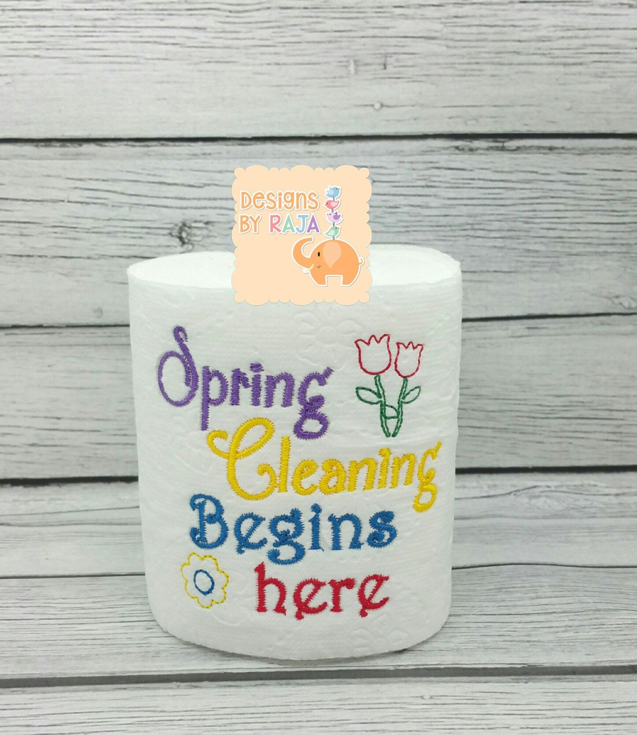 Embroidery designs for toilet paper - Spring Cleaning Embroidered Toilet Paper Birthday Gift Mom Gifts For Her Funny Gag Gift White Elephant Bathroom Decorations Jo