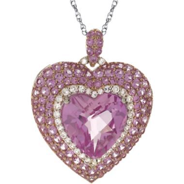 Lab-Created Pink & White Sapphire Heart Pendant Sterling Silver So pretty in pink. This romantic pendant features a faceted heart-shaped center pink sapphire framed by a row of white sapphires and a double row of pink sapphires for an unforgettable look.
