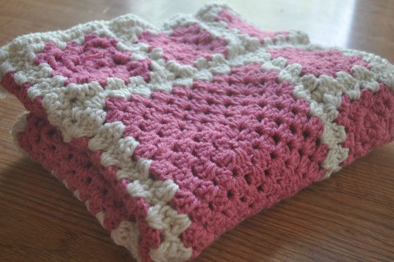 SALE Baby Girl Blanket. Handmade Crochet Granny by CraftyMom75