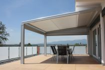 Lagune terrace cover with roof in waterproof fabric