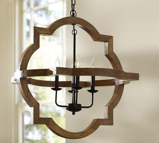 Pottery Barn Bronze Chandelier: Lighting - Paloma Wood Chandelier