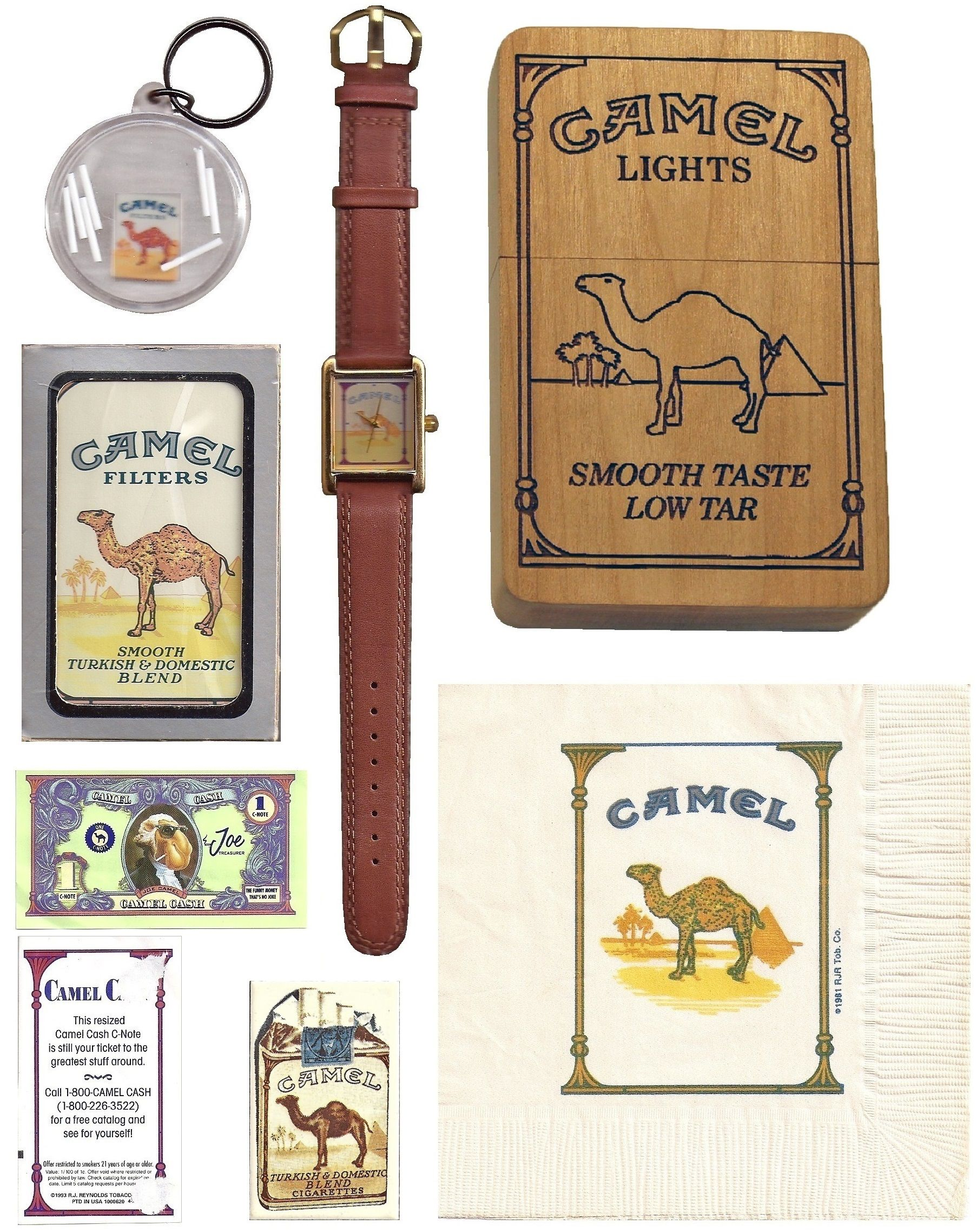 Miscellaneous items No.1 has a keychain game with floating cigarettes that you try to insert back into the pack.  Napkin, refrigerator magnet, deck of cards and watch complete the page