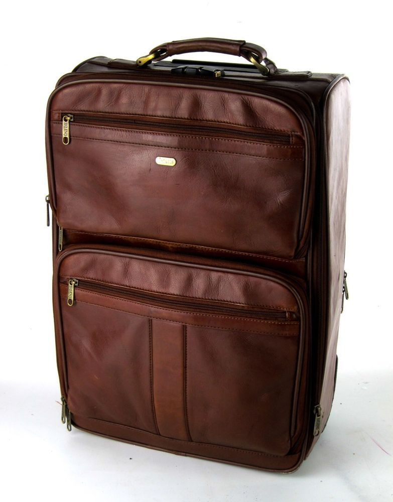 Baleno brown genuine leather wheeled rolling suitcase luggage ...