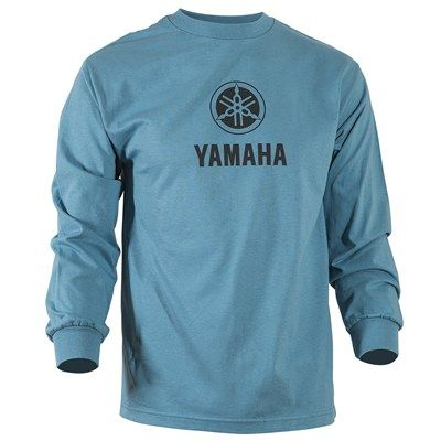 The Yamaha Vertical Slate Long Sleeve Tee is made of 100% cotton. This regular fit long-sleeve jersey Tee features a stacked Yamaha Tuning Fork logo screenprinted in black on chest.